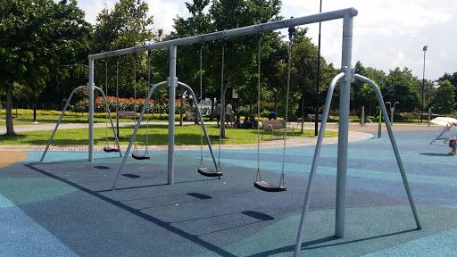 Empty swings in a row